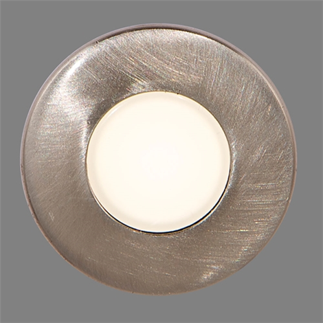 "7/8"" Round Recessed LED Light, Brushed Stainless"